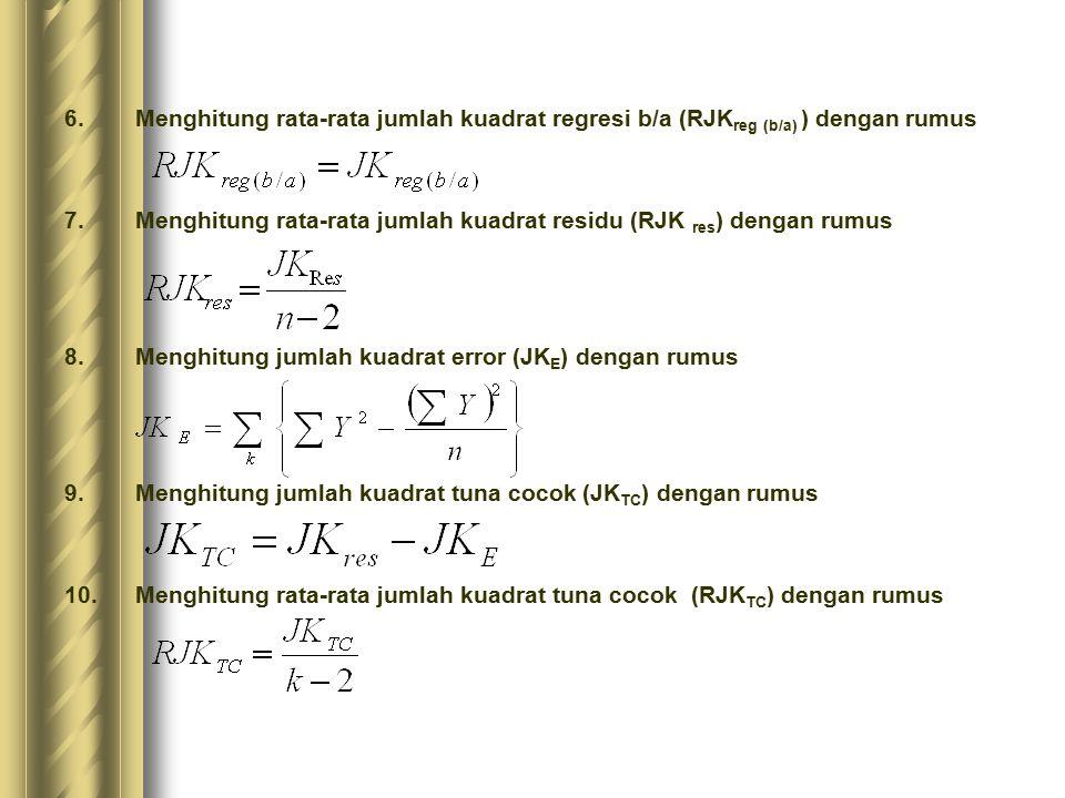 11.Menghitung rata-rata jumlah kuadrat error (RJK E ) dengan rumus 12.Mencari nilai uji F dengan rumus 13.Menentukan kriteria pengukuran: Jika nilai uji F < nilai tabel F, maka distribusi berpola linier 14.Mencari nilai F tabel pada taraf signifikansi 95% atau α = 5% menggunakan rumus : F tabel = F (1-á) (db TC, db E) dimana db TC = k-2 (dk pembilang) dan db E = n-k (dk penyebut) 15.Membandingkan nilai uji F dengan nilai tabel F (lihat tabel distribusi F ) kemudian membuat kesimpulan.