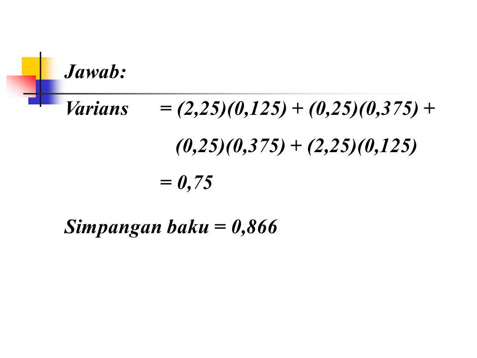 Simpangan Baku (Standard Deviation): Contoh: berdasar data yang lalu hitung varians dan standard deviasinya.