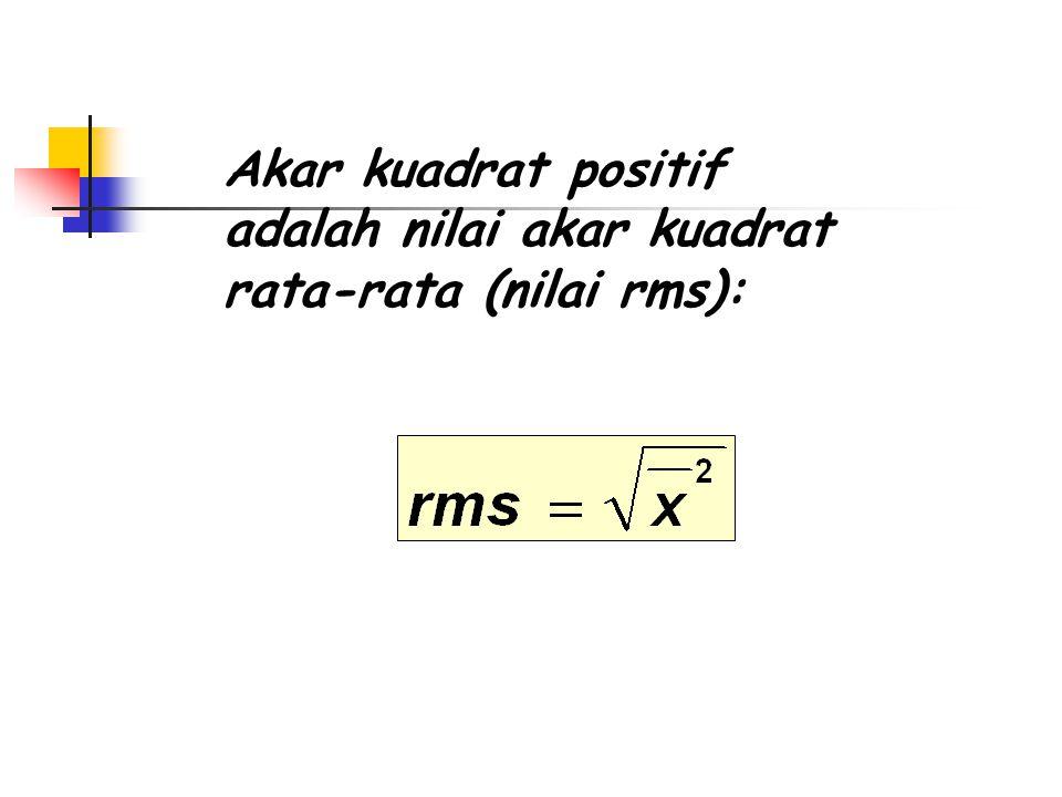 Nilai Kuadrat Rata-rata Nilai kuadrat rata-rata adalah rata-rata dari kuadrat dan untuk data diskret didefinisikan sebagai berikut: (untuk N jumlah data) =