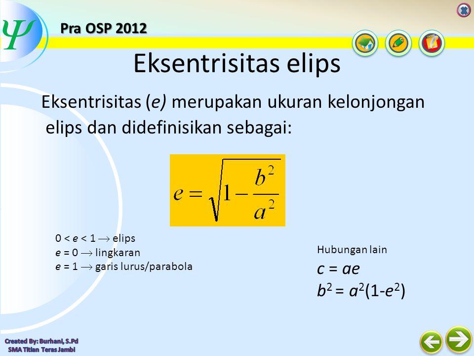  Elips Dalam Koordinat Kutub c a r θ x = c + r cos θ y = r sin θ c=ae b 2 =a 2 (1-e 2 ) Masukkan persamaan diatas ke dalam persamaan umum elips Pra OSP 2012