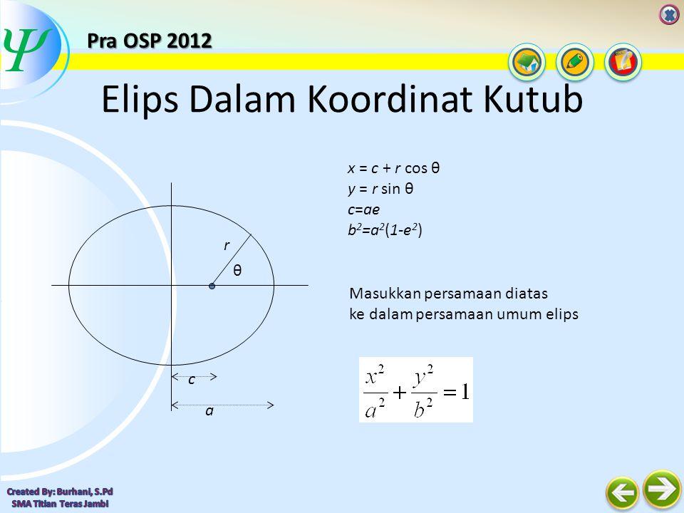  Elips Dalam Koordinat Kutub Hasilnya adalah persamaan elips dalam koordinat kutub : c a r θ Pra OSP 2012