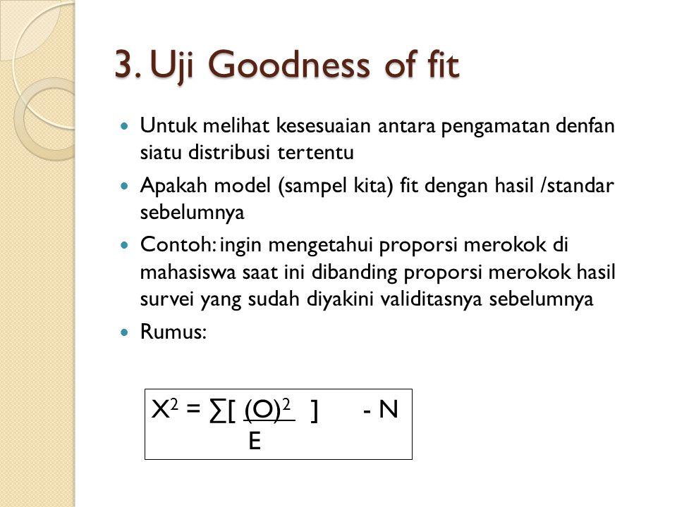 3. Uji Goodness of fit Untuk melihat kesesuaian antara pengamatan denfan siatu distribusi tertentu Apakah model (sampel kita) fit dengan hasil /standa