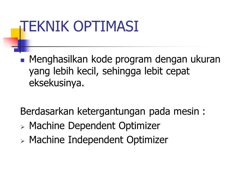 Machine Independent Optimizer Optimasi Lokal Dilakukan hanya pada suatu blok dari source code.
