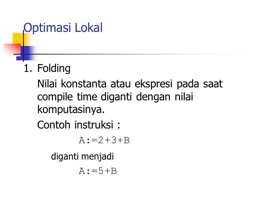 Optimasi Lokal 1.Folding Nilai konstanta atau ekspresi pada saat compile time diganti dengan nilai komputasinya. Contoh instruksi : A:=2+3+B diganti m