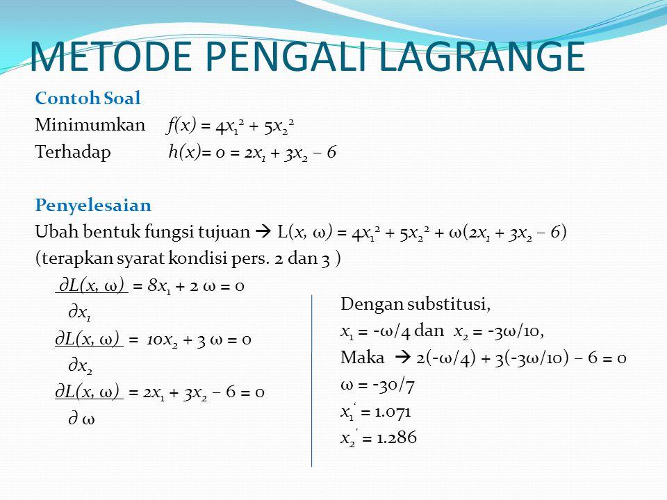 METODE PENGALI LAGRANGE Contoh Soal Minimumkan f(x) = 4x 1 2 + 5x 2 2 Terhadaph(x)= 0 = 2x 1 + 3x 2 – 6 Penyelesaian Ubah bentuk fungsi tujuan  L(x,