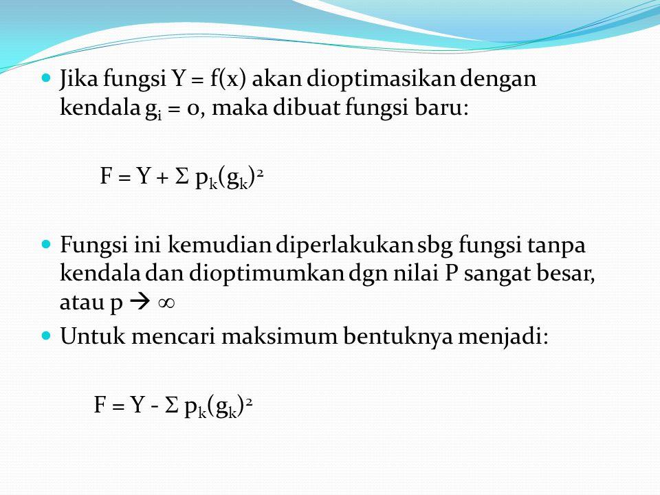 Jika fungsi Y = f(x) akan dioptimasikan dengan kendala g i = 0, maka dibuat fungsi baru: F = Y +  p k (g k ) 2 Fungsi ini kemudian diperlakukan sbg f