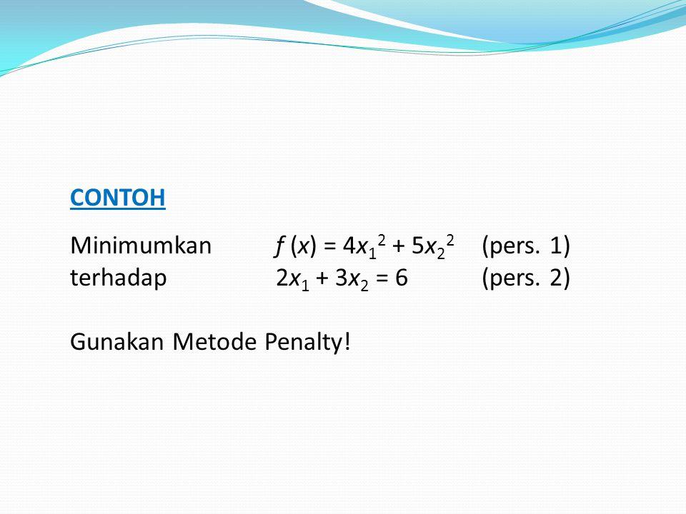 CONTOH Minimumkan f (x) = 4x 1 2 + 5x 2 2 (pers. 1) terhadap 2x 1 + 3x 2 = 6(pers. 2) Gunakan Metode Penalty!