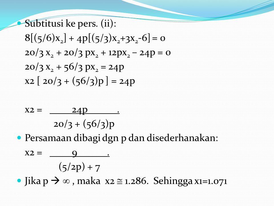 Subtitusi ke pers. (ii): 8[(5/6)x 2 ] + 4p[(5/3)x 2 +3x 2 -6] = 0 20/3 x 2 + 20/3 px 2 + 12px 2 – 24p = 0 20/3 x 2 + 56/3 px 2 = 24p x2 [ 20/3 + (56/3