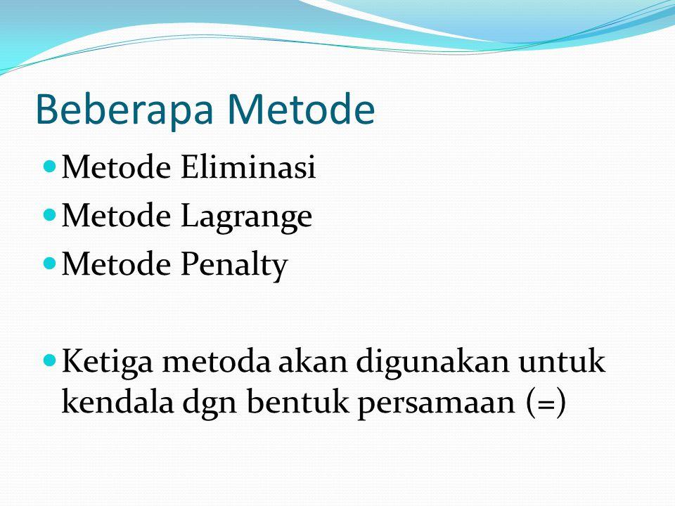 Beberapa Metode Metode Eliminasi Metode Lagrange Metode Penalty Ketiga metoda akan digunakan untuk kendala dgn bentuk persamaan (=)