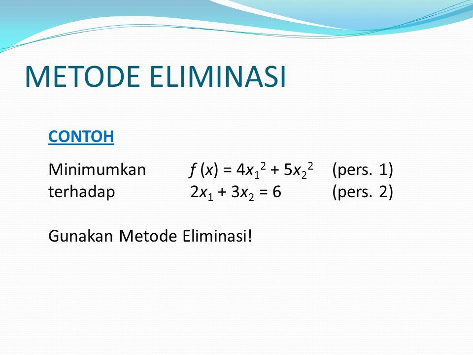 METODE ELIMINASI PENYELESAIAN Baik x 1 maupun x 2 dapat dieliminasi.
