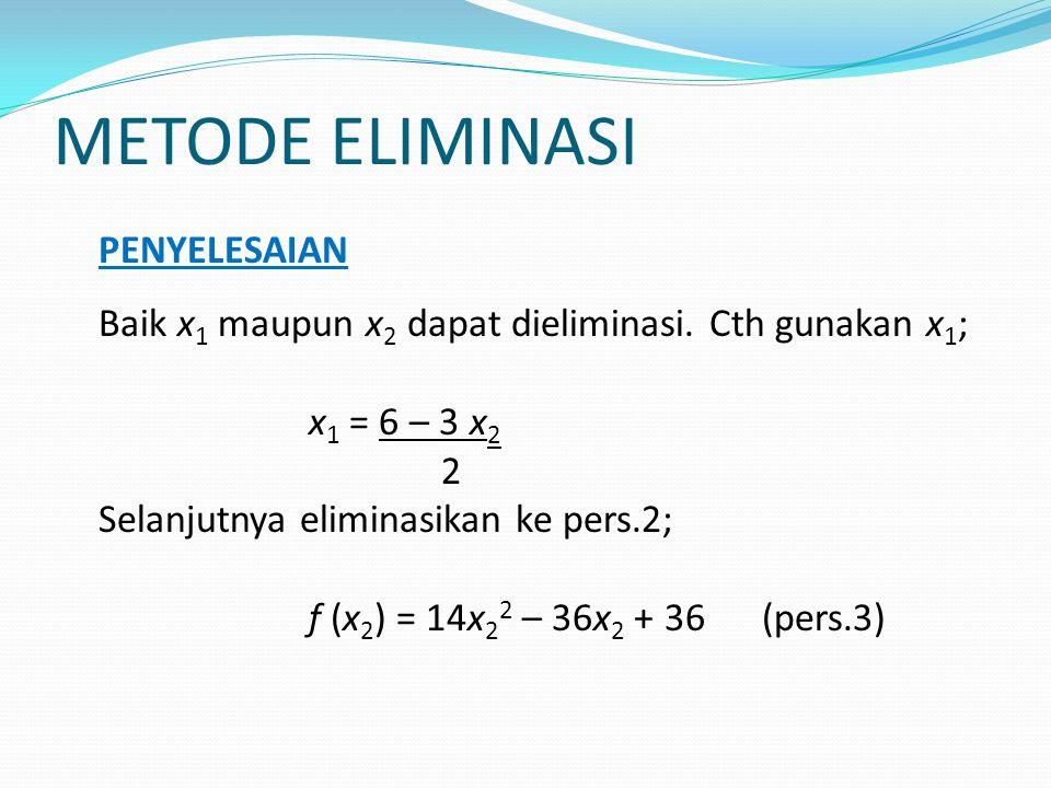 METODE ELIMINASI PENYELESAIAN Baik x 1 maupun x 2 dapat dieliminasi. Cth gunakan x 1 ; x 1 = 6 – 3 x 2 2 Selanjutnya eliminasikan ke pers.2; f (x 2 )