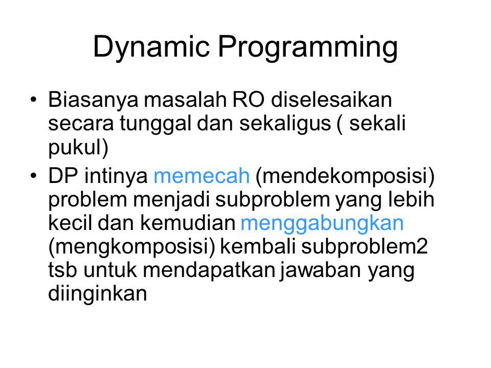 Dynamic Programming Biasanya masalah RO diselesaikan secara tunggal dan sekaligus ( sekali pukul) DP intinya memecah (mendekomposisi) problem menjadi