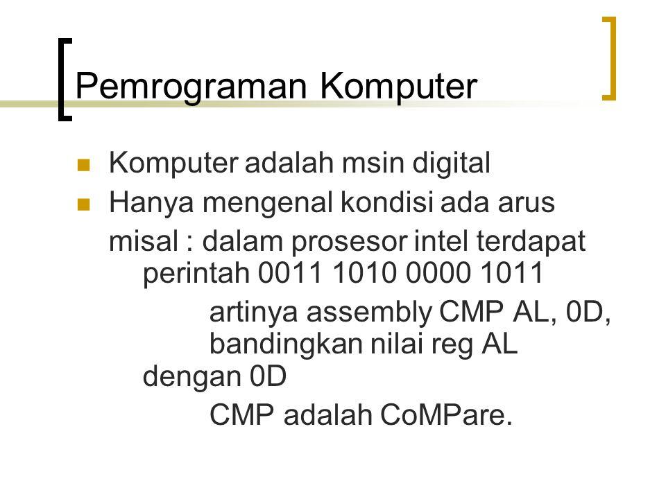 Pemrograman Komputer Komputer adalah msin digital Hanya mengenal kondisi ada arus misal : dalam prosesor intel terdapat perintah 0011 1010 0000 1011 a