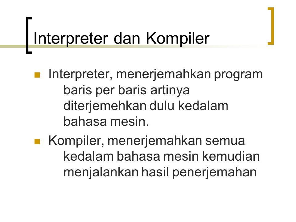 Interpreter dan Kompiler Interpreter, menerjemahkan program baris per baris artinya diterjemehkan dulu kedalam bahasa mesin. Kompiler, menerjemahkan s