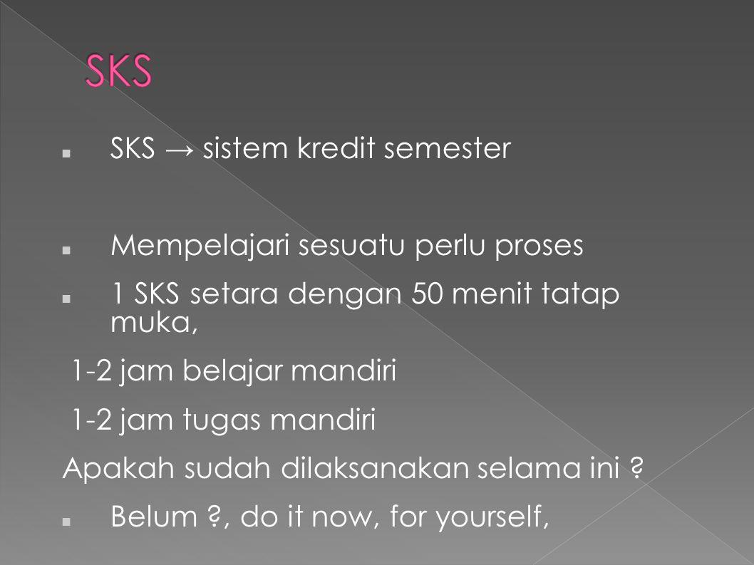 SKS → sistem kredit semester Mempelajari sesuatu perlu proses 1 SKS setara dengan 50 menit tatap muka, 1-2 jam belajar mandiri 1-2 jam tugas mandiri Apakah sudah dilaksanakan selama ini .
