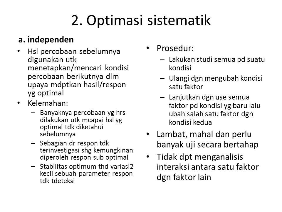 2. Optimasi sistematik a. independen Hsl percobaan sebelumnya digunakan utk menetapkan/mencari kondisi percobaan berikutnya dlm upaya mdptkan hasil/re