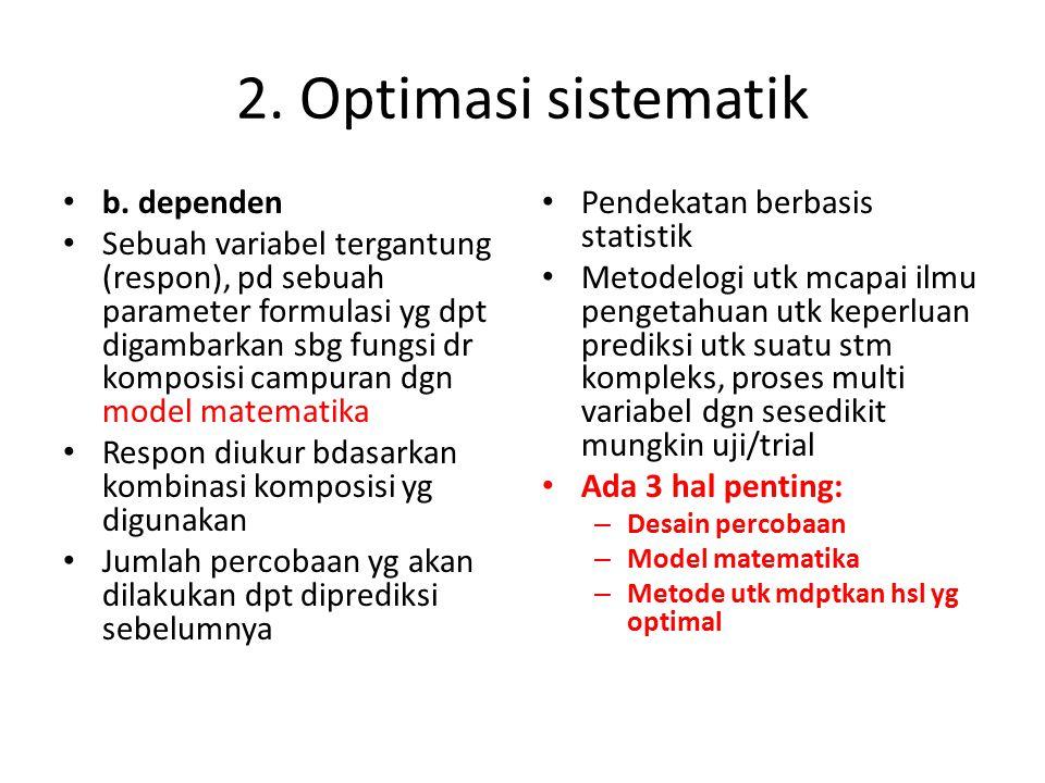 2. Optimasi sistematik b. dependen Sebuah variabel tergantung (respon), pd sebuah parameter formulasi yg dpt digambarkan sbg fungsi dr komposisi campu