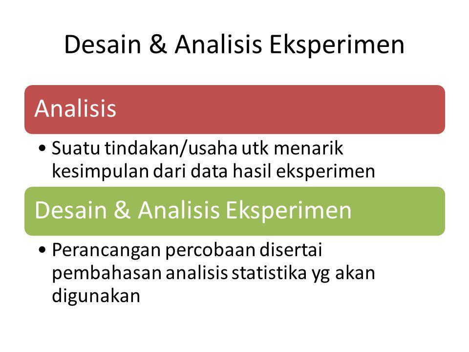 Desain & Analisis Eksperimen Analisis Suatu tindakan/usaha utk menarik kesimpulan dari data hasil eksperimen Desain & Analisis Eksperimen Perancangan