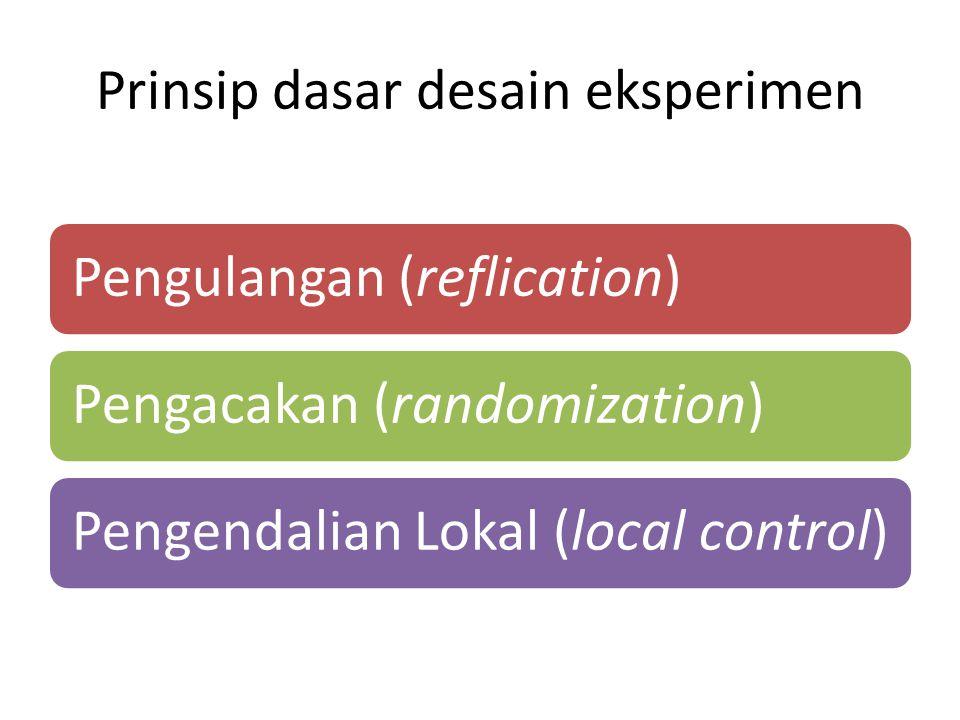 Prinsip dasar desain eksperimen Pengulangan (reflication)Pengacakan (randomization)Pengendalian Lokal (local control)