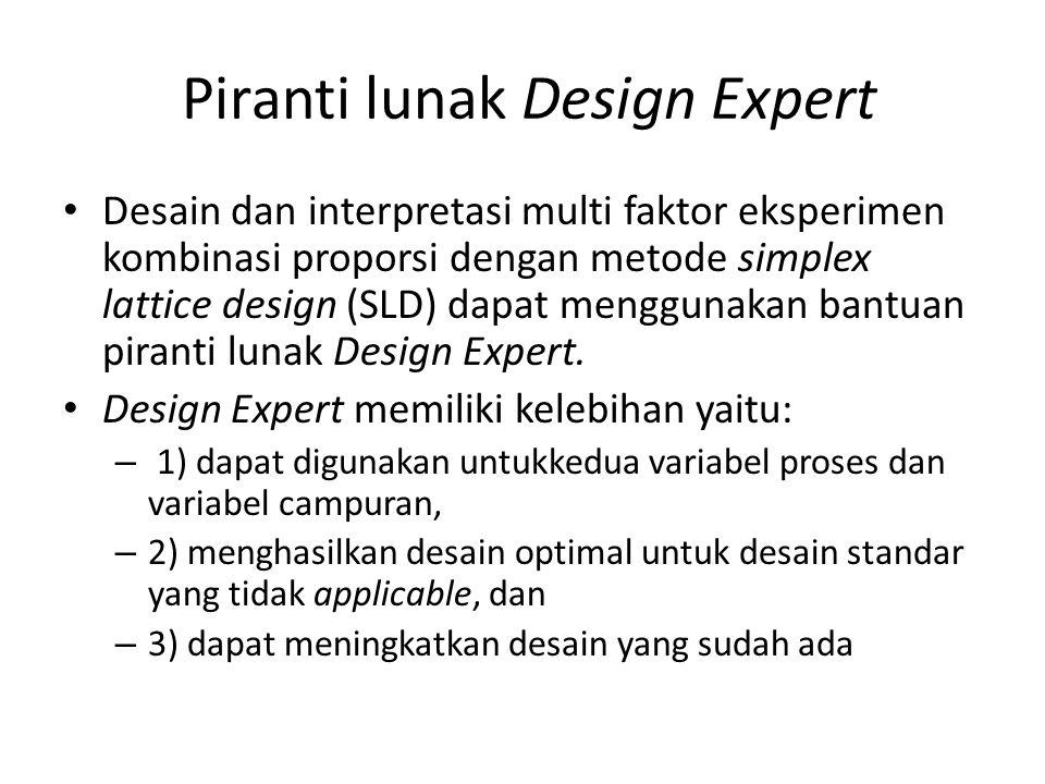 Piranti lunak Design Expert Desain dan interpretasi multi faktor eksperimen kombinasi proporsi dengan metode simplex lattice design (SLD) dapat menggu