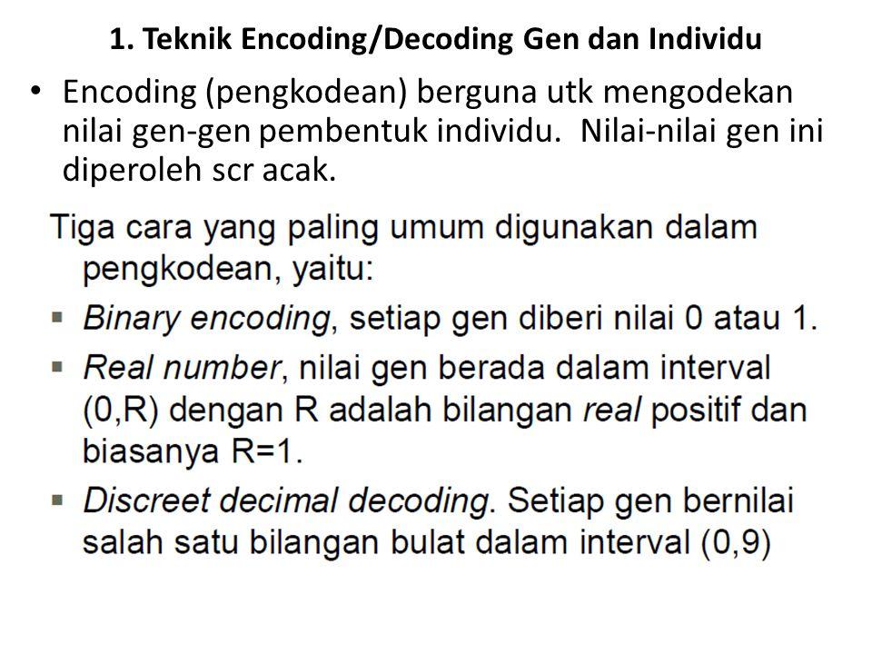 1. Teknik Encoding/Decoding Gen dan Individu Encoding (pengkodean) berguna utk mengodekan nilai gen-gen pembentuk individu. Nilai-nilai gen ini dipero