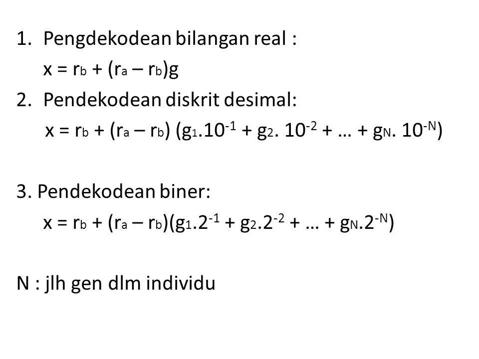 1.Pengdekodean bilangan real : x = r b + (r a – r b )g 2.Pendekodean diskrit desimal: x = r b + (r a – r b ) (g 1.10 -1 + g 2.