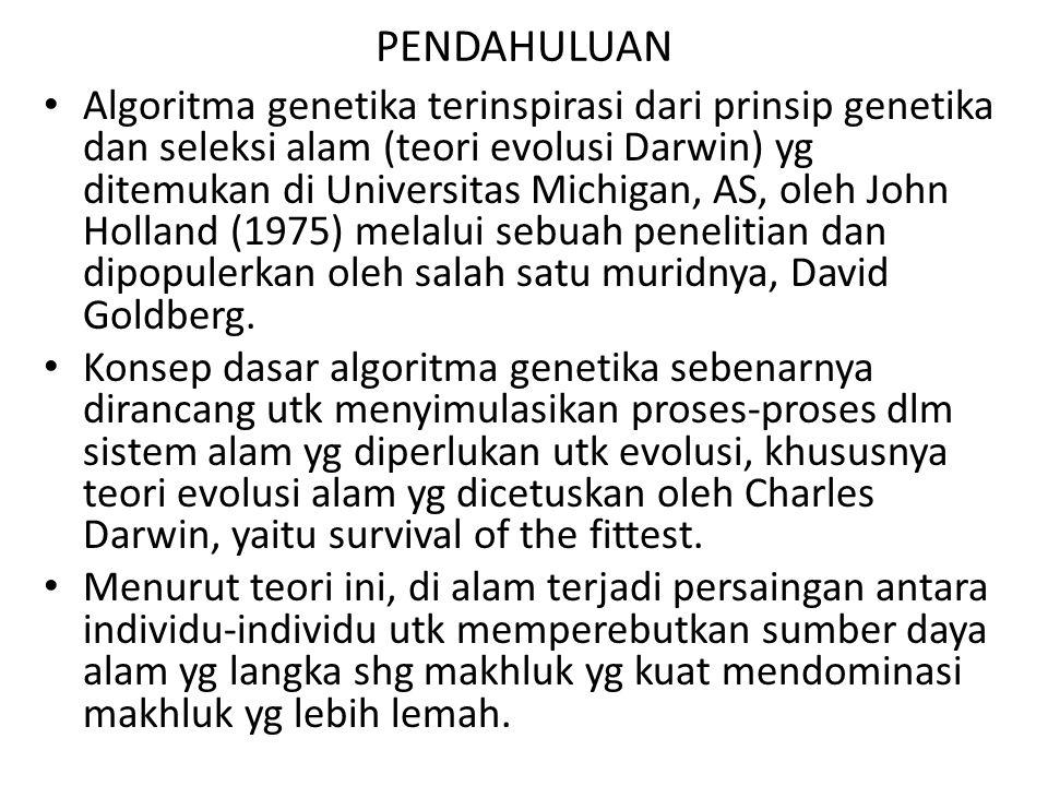 PENDAHULUAN Algoritma genetika terinspirasi dari prinsip genetika dan seleksi alam (teori evolusi Darwin) yg ditemukan di Universitas Michigan, AS, oleh John Holland (1975) melalui sebuah penelitian dan dipopulerkan oleh salah satu muridnya, David Goldberg.