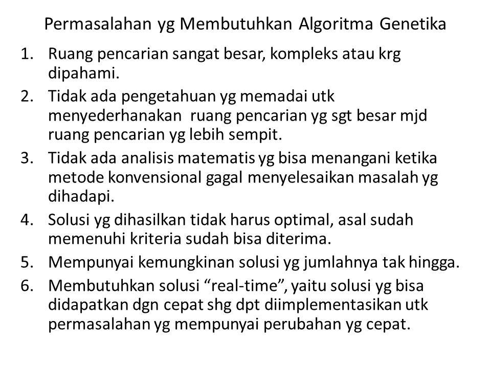 Permasalahan yg Membutuhkan Algoritma Genetika 1.Ruang pencarian sangat besar, kompleks atau krg dipahami. 2.Tidak ada pengetahuan yg memadai utk meny