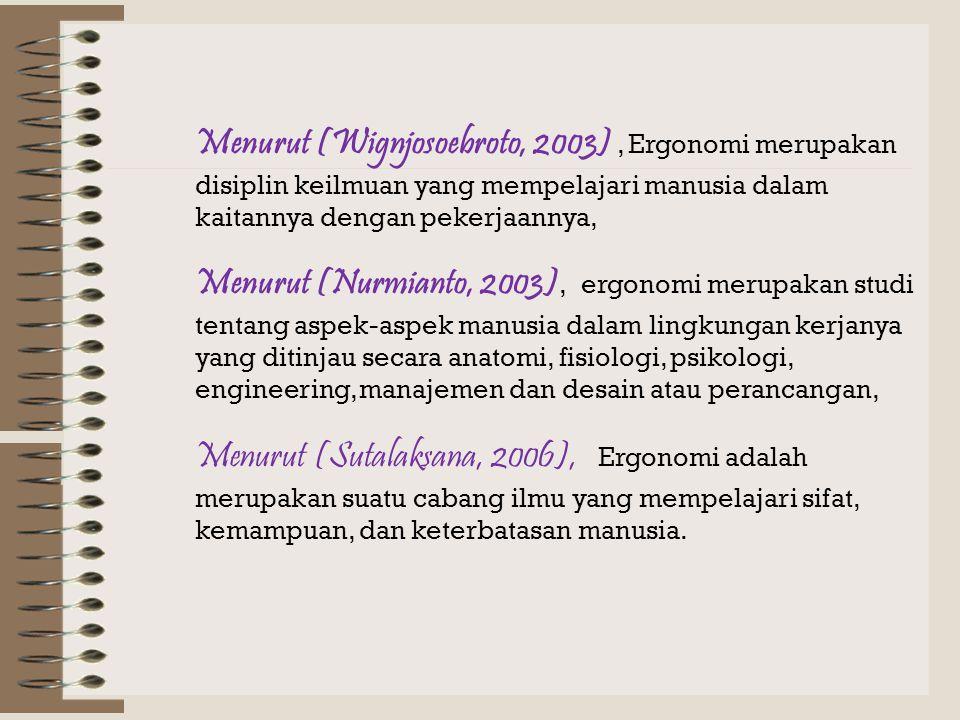 Menurut Sutalaksana, 1979, ergonomi merupakan ilmu yang mempelajari sifat, kemampuan, dan keterbatasan manusia untuk merancang suatu sistem kerja sehi