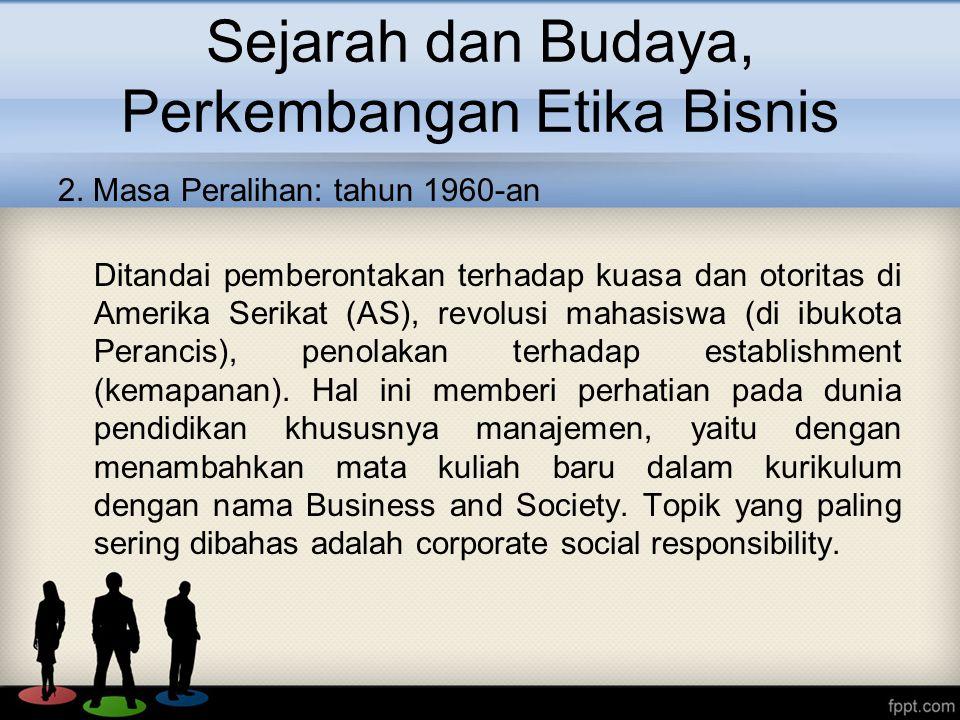 Sejarah dan Budaya, Perkembangan Etika Bisnis 2.