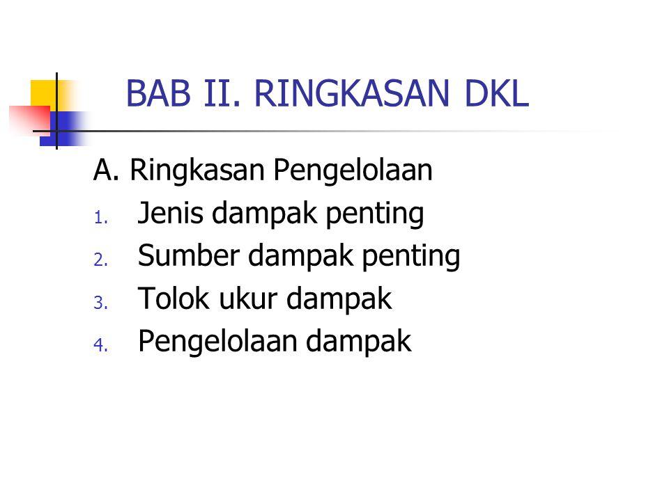 BAB II. RINGKASAN DKL A. Ringkasan Pengelolaan 1. Jenis dampak penting 2. Sumber dampak penting 3. Tolok ukur dampak 4. Pengelolaan dampak