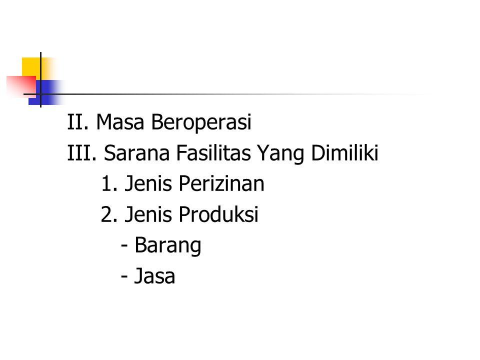 II. Masa Beroperasi III. Sarana Fasilitas Yang Dimiliki 1. Jenis Perizinan 2. Jenis Produksi - Barang - Jasa