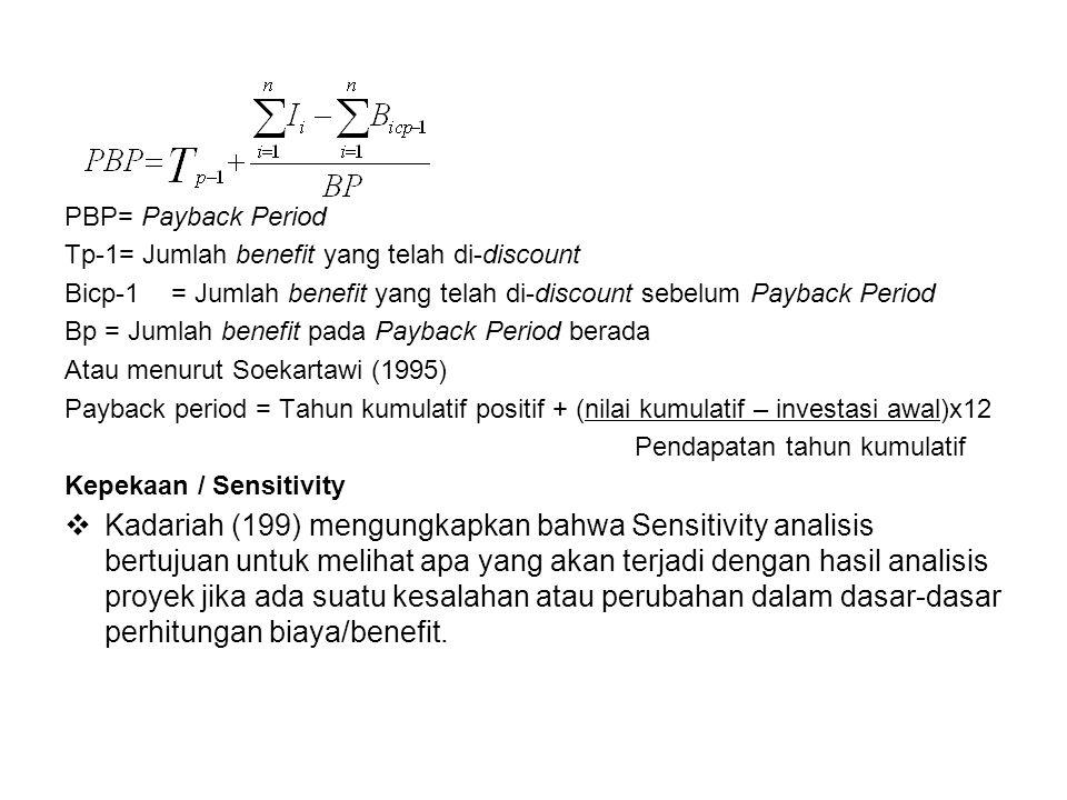 PBP= Payback Period Tp-1= Jumlah benefit yang telah di-discount Bicp-1= Jumlah benefit yang telah di-discount sebelum Payback Period Bp= Jumlah benefi