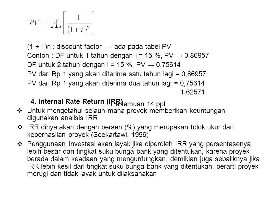 (1 + i )n : discount factor → ada pada tabel PV Contoh : DF untuk 1 tahun dengan i = 15 %, PV → 0,86957 DF untuk 2 tahun dengan i = 15 %, PV → 0,75614