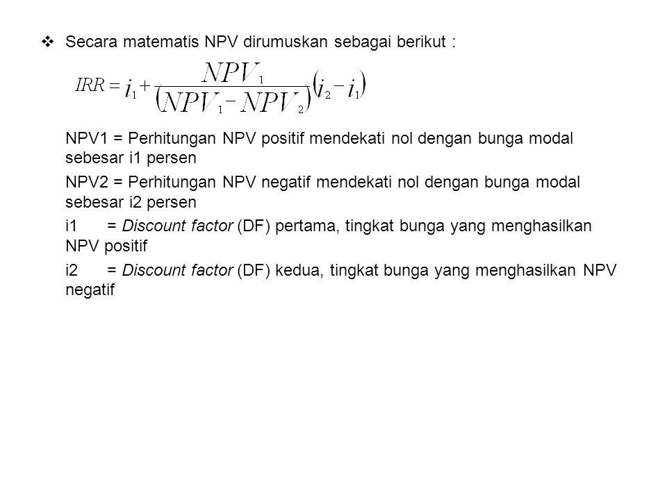  Secara matematis NPV dirumuskan sebagai berikut : NPV1 = Perhitungan NPV positif mendekati nol dengan bunga modal sebesar i1 persen NPV2 = Perhitung