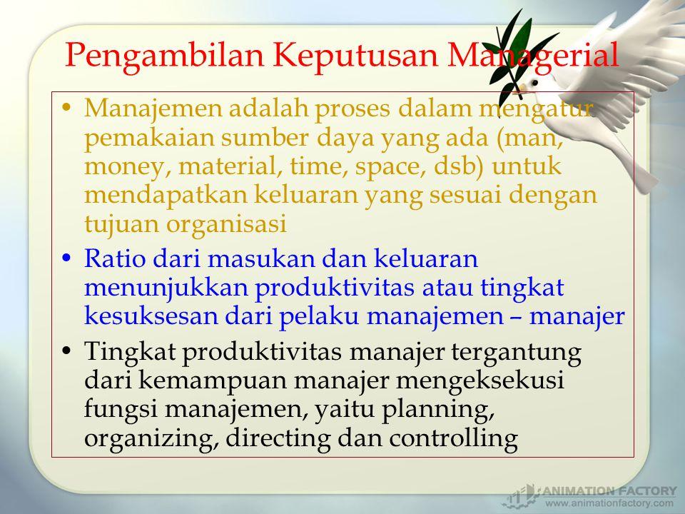 Pengambilan Keputusan Managerial Manajemen adalah proses dalam mengatur pemakaian sumber daya yang ada (man, money, material, time, space, dsb) untuk mendapatkan keluaran yang sesuai dengan tujuan organisasi Ratio dari masukan dan keluaran menunjukkan produktivitas atau tingkat kesuksesan dari pelaku manajemen – manajer Tingkat produktivitas manajer tergantung dari kemampuan manajer mengeksekusi fungsi manajemen, yaitu planning, organizing, directing dan controlling