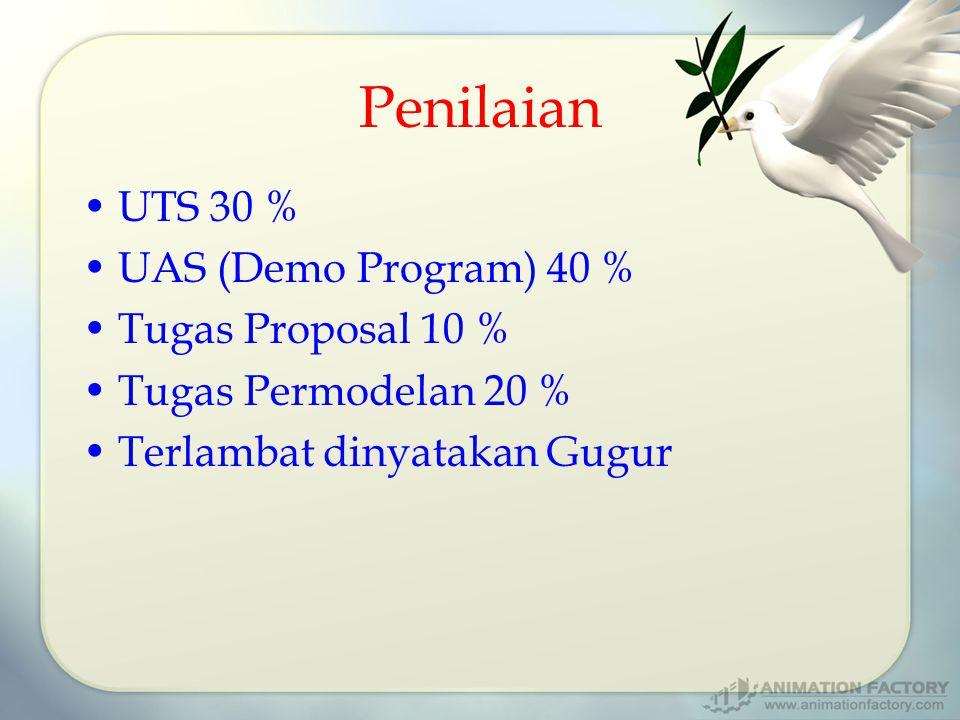 Penilaian UTS 30 % UAS (Demo Program) 40 % Tugas Proposal 10 % Tugas Permodelan 20 % Terlambat dinyatakan Gugur