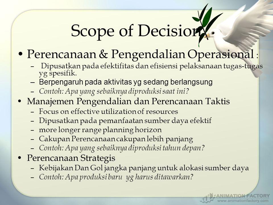 Scope of Decision Perencanaan & Pengendalian Operasional : – Dipusatkan pada efektifitas dan efisiensi pelaksanaan tugas-tugas yg spesifik. –Berpengar