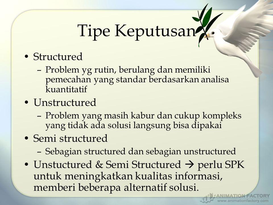 Tipe Keputusan Structured –Problem yg rutin, berulang dan memiliki pemecahan yang standar berdasarkan analisa kuantitatif Unstructured –Problem yang m