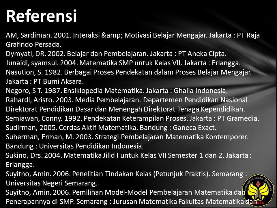 Referensi AM, Sardiman. 2001. Interaksi & Motivasi Belajar Mengajar. Jakarta : PT Raja Grafindo Persada. Dymyati, DR. 2002. Belajar dan Pembelajar