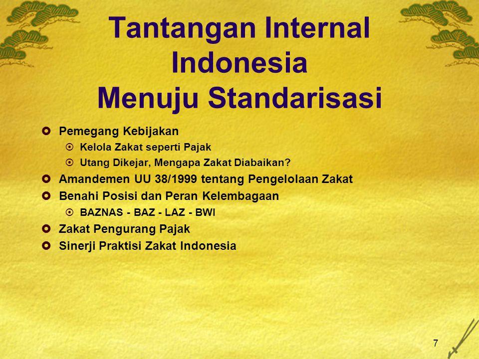 7 Tantangan Internal Indonesia Menuju Standarisasi  Pemegang Kebijakan  Kelola Zakat seperti Pajak  Utang Dikejar, Mengapa Zakat Diabaikan?  Amand