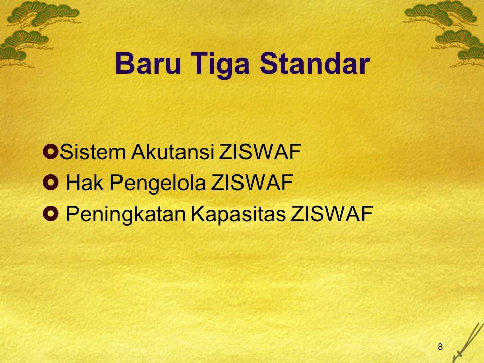 8 Baru Tiga Standar  Sistem Akutansi ZISWAF  Hak Pengelola ZISWAF  Peningkatan Kapasitas ZISWAF