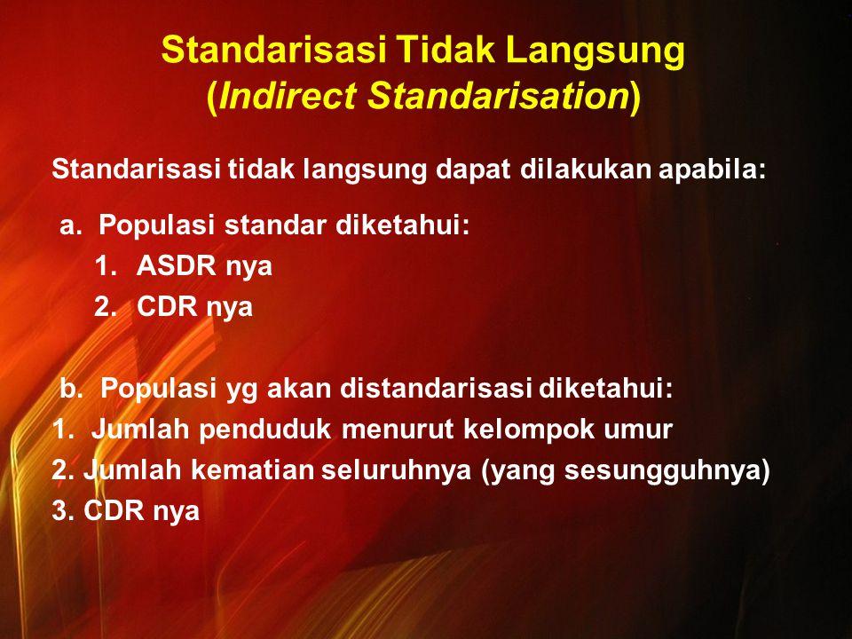 Standarisasi Tidak Langsung (Indirect Standarisation) Standarisasi tidak langsung dapat dilakukan apabila: a. Populasi standar diketahui: 1.ASDR nya 2