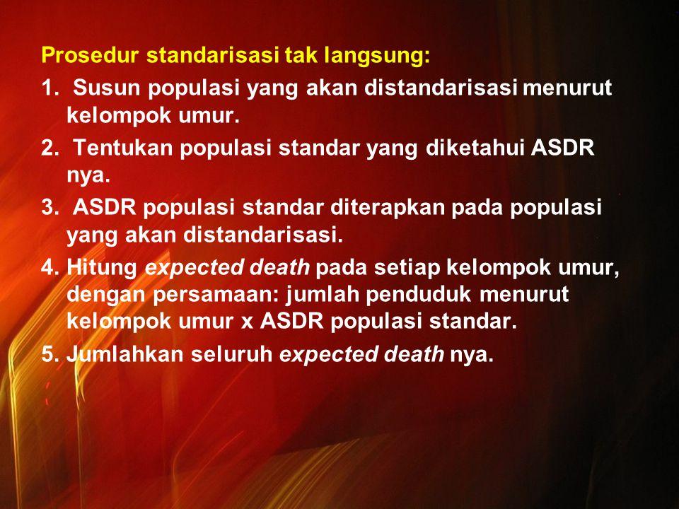 Prosedur standarisasi tak langsung: 1. Susun populasi yang akan distandarisasi menurut kelompok umur. 2. Tentukan populasi standar yang diketahui ASDR