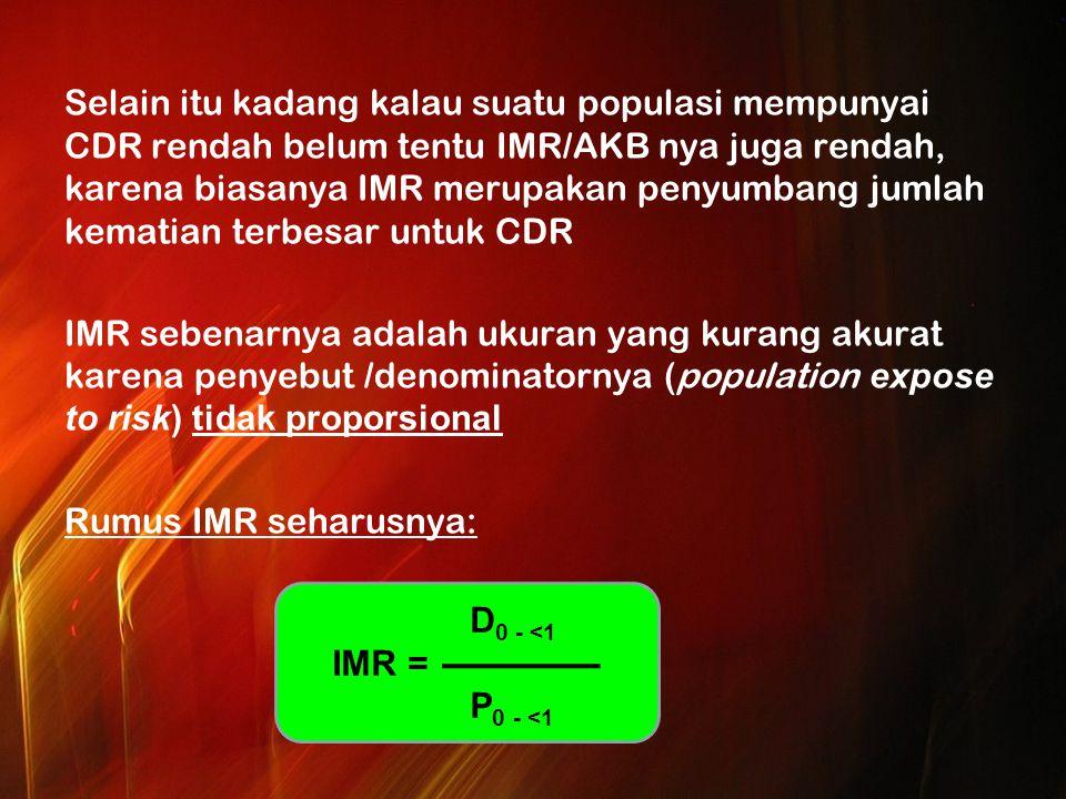 Selain itu kadang kalau suatu populasi mempunyai CDR rendah belum tentu IMR/AKB nya juga rendah, karena biasanya IMR merupakan penyumbang jumlah kematian terbesar untuk CDR IMR sebenarnya adalah ukuran yang kurang akurat karena penyebut /denominatornya (population expose to risk) tidak proporsional Rumus IMR seharusnya: D 0 - <1 IMR = P 0 - <1