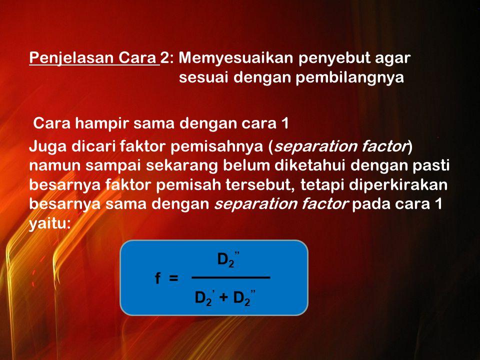 Penjelasan Cara 2: Memyesuaikan penyebut agar sesuai dengan pembilangnya Cara hampir sama dengan cara 1 Juga dicari faktor pemisahnya (separation factor) namun sampai sekarang belum diketahui dengan pasti besarnya faktor pemisah tersebut, tetapi diperkirakan besarnya sama dengan separation factor pada cara 1 yaitu: D 2 f = D 2 ' + D 2