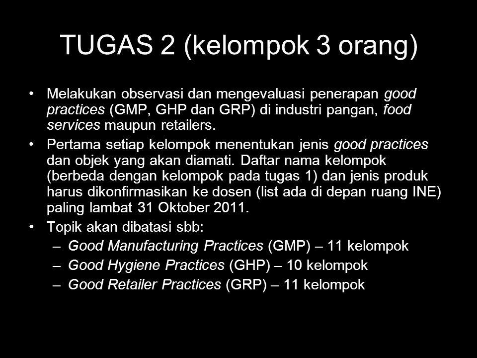 TUGAS 2 (kelompok 3 orang) Melakukan observasi dan mengevaluasi penerapan good practices (GMP, GHP dan GRP) di industri pangan, food services maupun r