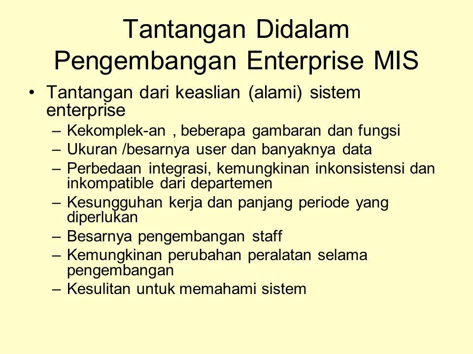 Tantangan Didalam Pengembangan Enterprise MIS Tantangan dari keaslian (alami) sistem enterprise –Kekomplek-an, beberapa gambaran dan fungsi –Ukuran /b
