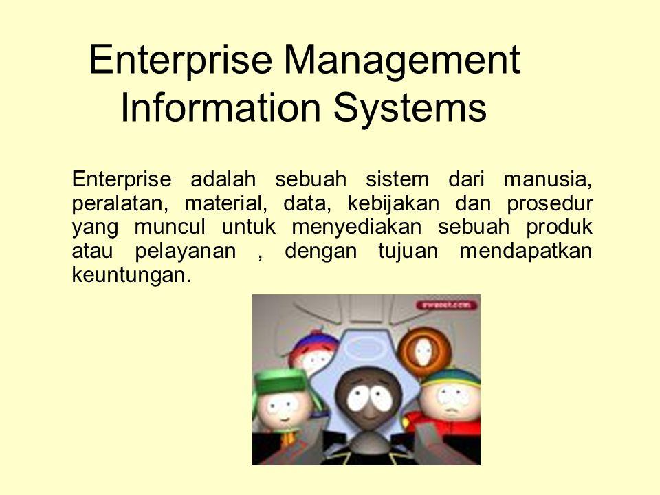 Enterprise adalah sebuah sistem dari manusia, peralatan, material, data, kebijakan dan prosedur yang muncul untuk menyediakan sebuah produk atau pelay