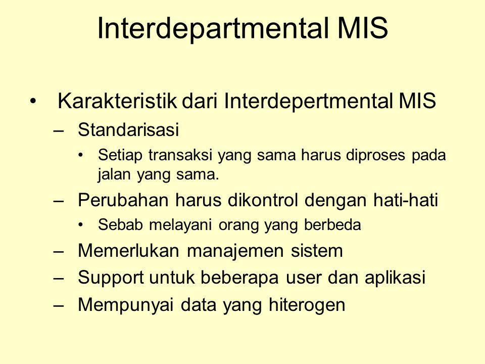 Interdepartmental MIS Karakteristik dari Interdepertmental MIS –Standarisasi Setiap transaksi yang sama harus diproses pada jalan yang sama. –Perubaha